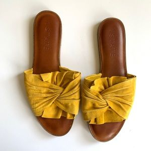 1. State Shoes - 1. State yellow slide sandals